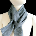 Blue grey scarf made with vintage kimono fabric. Unisex. Cotton/rayon mix
