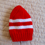 Size 1-3 yrs hand knitted beanie in Red & White: washable, affordable
