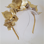 Gold Crown,Headband, Leather Crown,Facinator