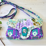 Purple teal clutch bag, cute crossbody, small purple bag purse, statement quirky