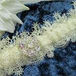 Bridal Wedding Garter - Ivory Lace with Diamante
