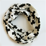 Black and White Infinity Scarf - Office Scarf - Modern Loop Scarves