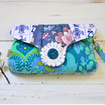 Turquoise teal wristlet clutch small blue bag, plum clutch bag, quirky vegan