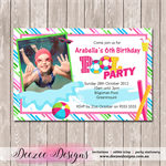 Pool Party Photo Personalised Birthday Invitation - YOU PRINT