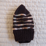 Size 1-3 yrs hand knitted beanie in Browns : washable, affordable