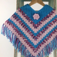Pure Wool Crochet Poncho | 3 - 5 Years | Girl | Hand Crocheted | Ready to Post