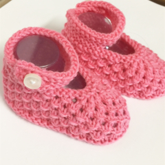 0 - 3 mths Baby Booties Shoes, FREE POST , Pink Wool, Hand Knit