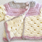 Mini Moogly Baby Jacket for a baby girl - Cream/Beige/ Dusty Pink - fits newborn