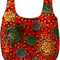 Reversible cotton market bag: modern medallion print in orange, green and rust