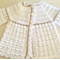 Crochet Baby Coat - White with beige/gold trim.  Fits 3 - 6 months.