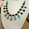 Statement Necklace - Black, Turquoise, White - Howlite, Crystal, Pearl - N011