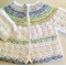Crochet Baby Jacket - White with a yoke of striped boucle yarn - Fits 3 - 6 mont