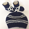 Hand Knit, 0-3m, Wool Beanie Hat & Bootie Shoes, Navy Blue / Cream