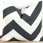 Charcoal Grey & White Zig Zag  Chevron Cushion Pillow Cover