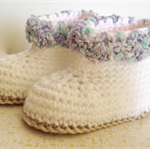 Crochet White booties with blue boucle trim - fits 3 - 6 months