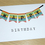 Male Happy Birthday card - coloured bunting