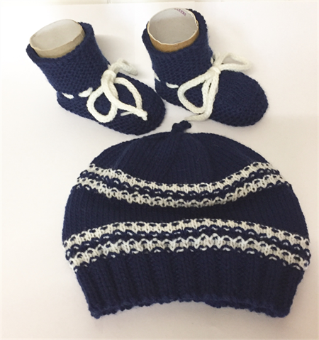 Hand Knit, 0-3m, Wool Beanie Hat & Bootie Shoes, Navy Blue / Cream