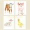 Farm Animals Set of 4 VALUE Prints, A4 Size Watercolour Farm Animals