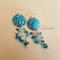 Batik Earring - Teal Turquoise Blue Zircon - Sterling Silver Hook - Swarovski
