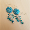 Batik Earring - Teal, Turquoise, Blue Zircon - Swarovski - E015