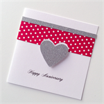 Silver glitter heart love happy anniversary red white spots polka dots card
