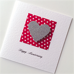 Red white spots polka dots silver glitter heart love happy anniversary card