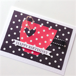 Red black polka dots teacup happy birthday spots sassy her friend card