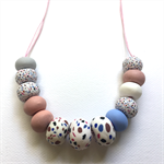 Handcrafted Polymer Clay long or short adjustable necklace- spots and dots