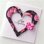 Happy anniversary heart love pink black flower bloom card