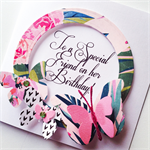 Happy Birthday special friend bright pink glitter tropical butterfly card