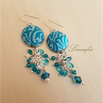 Batik Earring - Teal, Turquoise, Blue Zircon - Swarovski - E015