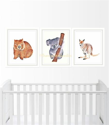 Australian Marsupial VALUE Set of 3 Prints, A4 Size Nursery Animals