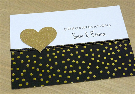 Personalised Wedding Engagement Anniversary card - Black and Gold