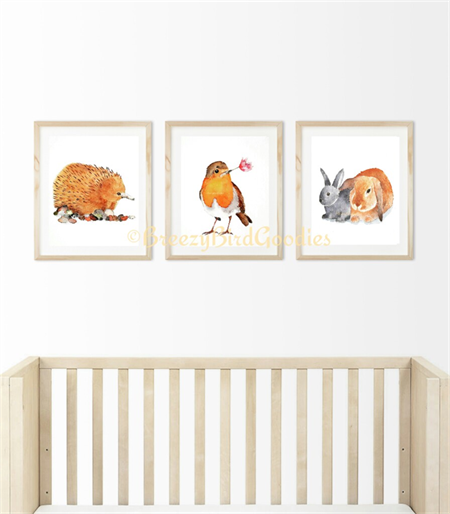 Nursery VALUE Set of 3 Prints - A4 Size Echidna, Robin and Bunny Friends