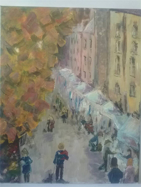 Streetscape Acrylic Paint on Canvas Original Art Salamanca Hobart Tasmania