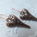 Copper Hammered Stylised Heart on Copper Nickel Free Tall French Earring Hooks