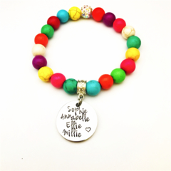 Personalised Name Family Tree Hand Stamped Multi-colour Gemstone Bead Bracelet