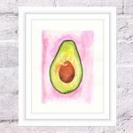 Avocado Print, A4 Size Watercolour Avocado, Kitchen Print