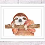 Baby Sloth Print, A4 Size Watercolour Sloth