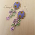 Violet-Purple-Green Earring - Batik Jewellery - Swarovski crystal - Silver