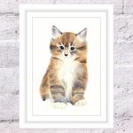 Sleepy Fluffy Kitten Print, A4 Size Watercolor Cat