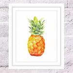 Pineapple Print, A4 Size Watercolour Pineapple, Kitchen Print