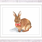 Bunny with Bow Tie Print, A4 Size Watercolor Bunny, Nursery Animal Print