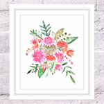 Country Bouquet Print, A4 Size Watercolour Flowers