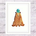 Happy Honey Bear Print, A4 Size Watercolour Bear, Nursery Animal Print