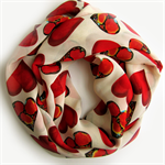 Red Heart Scarf - Infinity Scarves - Circle Scarf