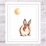 Bunny with Balloon Print, A4 Size Watercolor Bunny, Nursery Animal Print