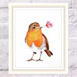 Rosy Robin Print, A4 Size Watercolor Robin
