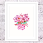 Peony Bouquet Print, A4 Size Watercolour Peonies