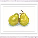 Pear Print, A4 Size Watercolour Pear, Kitchen Print